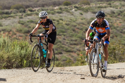 Greg Lonergan and Lisa Conrad off roaring it. Photo copyright 2014 by Jake Orness, under license and used with permission from SPY Optic.