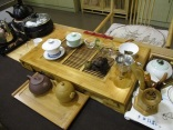 Tea ceremony setup in the cafe